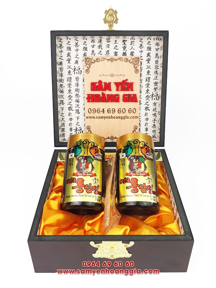 Cao hồng sâm Hàn Quốc 6 năm tuổi SEVEN GINSENG CORP hộp gỗ đen 2 lọ x 250g sang trọng