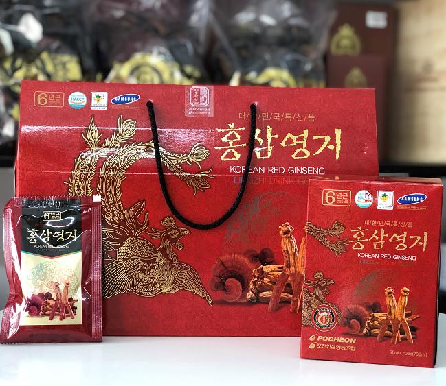 Nước hồng sâm linh chi Hàn quốc Pocheon hộp 30 gói